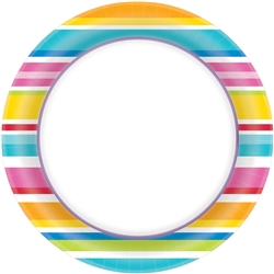 "Multi Stripe Border 6-3/4"" Plates 