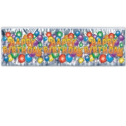 FR Metallic Happy Birthday Balloon Fringe Banner
