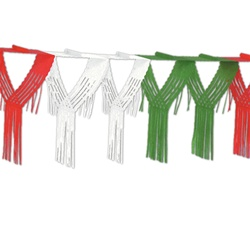 Red, White, & Green Drop Fringe Garland