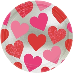 "Key To Your Heart 9"" Round Metallic Plates 