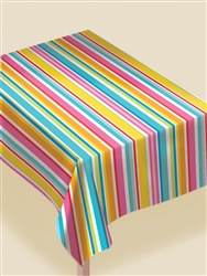 Multi Stripe Border Table Cover | Luau Party Supplies