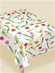 Bright Tulips Flannel-Backed Vinyl Table Cover | Party Supplies