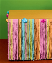 Totally Tiki Tissue with Flowers Table Skirts | Luau Party Supplies