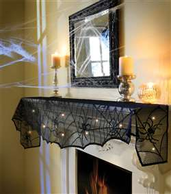 Midnight Lace Mesh Mantle Scarf w/Orange LED Lights | Party Supplies