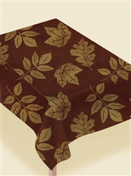 Fall Leaf Elegant Flannel Backed Vinyl Table Cover | Party Supplies