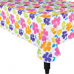 Hibiscus White Flannel Backed Table Cover | Luau Party Supplies