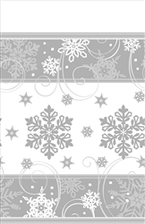 "Sparkling Snowflake Paper Table Cover 54"" x 102"" 