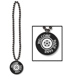 Beads with Printed Welcome Race Fans Medallion