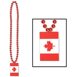 Beads with Printed Canadian Flag Medallion