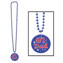 Beads with Printed #1 Dad Medallion