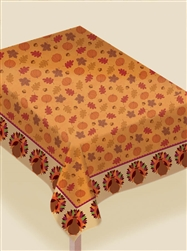 Turkey Dinner Flannel-Backed Vinyl Table Cover | Party Supplies