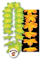 "34"" Kiwi Mango/Island Flower Leis with Custom Imprinted Plastic Medallion"