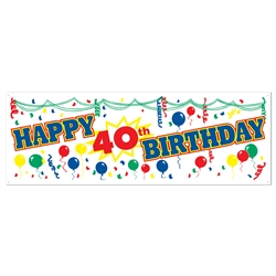 "Happy ""40th"" Birthday Sign Banner"