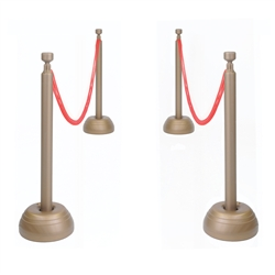 Red Rope and Stanchion Set