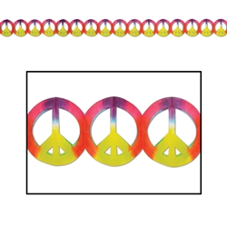 Tie-Dyed Peace Sign Garland