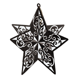 Black 3-D Glittered Star Centerpiece