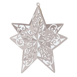 Silver 3-D Glittered Star Centerpiece
