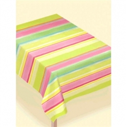 Sunny Stripe Pink Paper Table Cover | Party Supplies