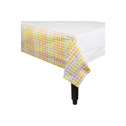 Colorful Gingham Stripes Paper Table Cover | Party Supplies