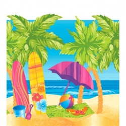Surf's Up Plastic Table Cover | Luau Party Supplies