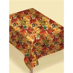 Elegant Leaves Flannel Backed Vinyl Table Cover | Party Supplies