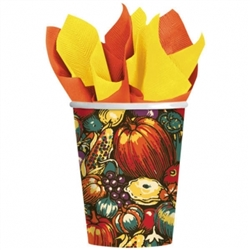 Autumn Turkey Paper 9 oz. Cups | Party Supplies