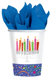 Playful Menorah 9oz Paper Cups | Party Supplies