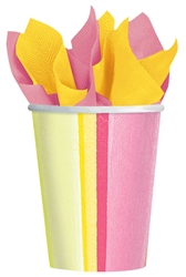 Sunny Stripe Pink Cups | Party Supplies