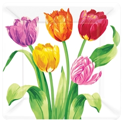 "Bright Tulips 10"" Square Plates 