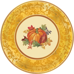 "Bountiful Holiday Paper Metallic 12"" Plates 