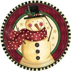 "Cozy Snowman 10-1/2"" Round Paper Plates 