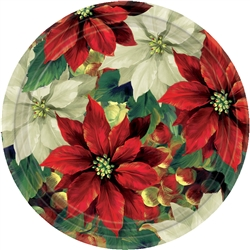 "Regal Poinsettia 10-1/2"" Round Paper Plates 