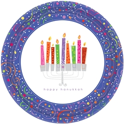 "Playful Menorah 10-1/2"" Round Paper Plates 