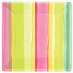 "Sunny Stripe 10"" Square Plates 