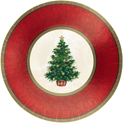 "Classic Christmas Tree 12"" Round Metallic Plates 