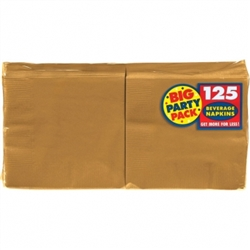 Gold Beverage Napkins - 125ct | Party Supplies