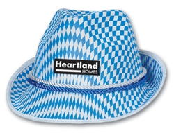 Blue Checkered Custom Imprinted Tyrolean Style Hat
