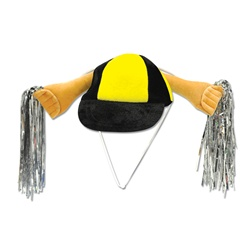 Black & Golden-Yellow Plush Shaker Cap