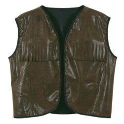 Faux Brown Leather Cowboy Vest with Fringe