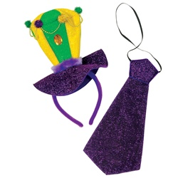 Mardi Gras Headband & Necktie Set | Party Supplies