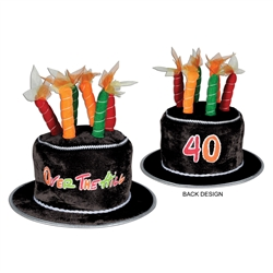 "Plush ""40"" Over-the-Hill Birthday Cake Hat"