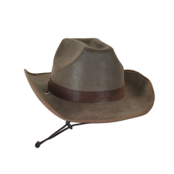 Faux Brown Leather Western Hat