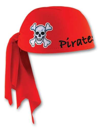 custom imprinted red pirate scarf hat