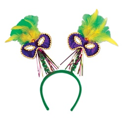 Mardi Gras Mask w/Feathers Boppers | Party Supplies