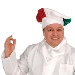 Red, White & Green Oversized Fabric Chef's Hat