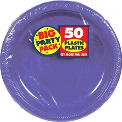 "New Purple 7"" Plastic Round Plates - 50ct 