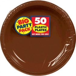 "Chocolate Brown Plastic 7"" Plates - 50ct 