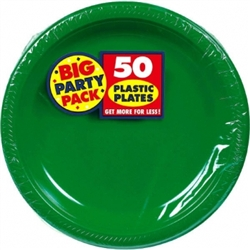 "Festive Green 10-1/4"" Plastic Round Plates - 50ct 