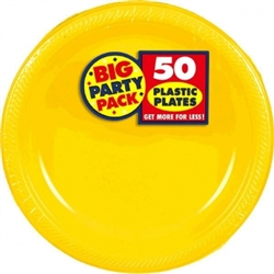 "Yellow Sunshine 10-1/4"" Plastic Round Plates - 50ct 