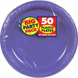 "New Purple 10-1/4"" Plastic Round Plates - 50ct 